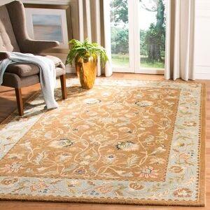 Safavieh Handmade Bergama Tiney Oriental Hand-spun Wool Rug (6' x 9' - Brown/Blue)