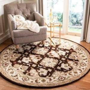 Safavieh Handmade Heritage Caroline Traditional Oriental Wool Rug (6' x 6' Round - Espresso/Ivory)