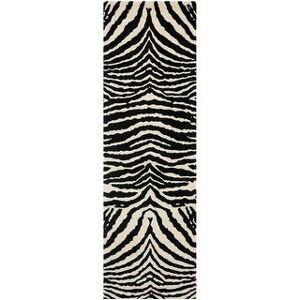 """Safavieh Handmade Soho Vicenta Tiger N.Z. Wool Rug (2'6"""" x 8' Runner - Beige/Black)"""