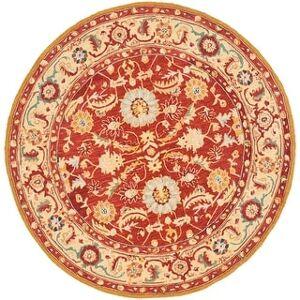 "Safavieh Hand-hooked Chelsea Kaylene Country Oriental Wool Rug (5'6"" x 5'6"" Round - Red/Ivory)"