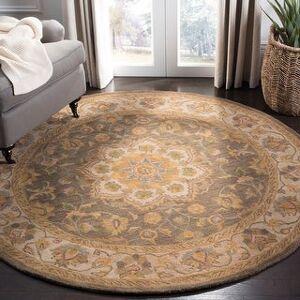 Safavieh Handmade Heritage Carley Traditional Oriental Wool Rug (6' x 6' Round - Green/Taupe)
