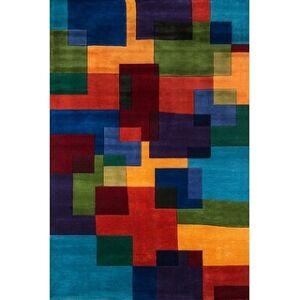 "Momeni New Wave Hand Tufted New Zealand Wool Contemporary Geometric Area Rug (9'6"" x 13'6"" - Multi)"