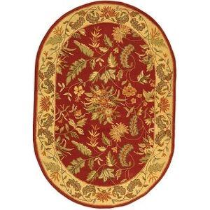 """Safavieh Hand-hooked Chelsea Ashlyn Country Oriental Wool Rug (4'6"""" x 6'6"""" Oval - Red)"""