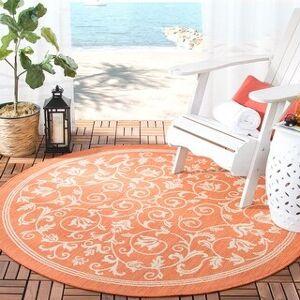"""Safavieh Courtyard Clarine Indoor/ Outdoor Rug (6'7"""" x 6'7"""" Round - Terracotta/Natural)"""