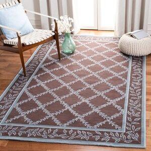 "Safavieh Hand-hooked Chelsea Kimber Country Oriental Trellis Wool Rug (Brown/Blue - 5'3"" x 8'3"")"