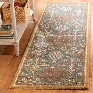 "Safavieh Handmade Antiquity Theodosia Traditional Oriental Wool Rug (2'3"" x 12' Runner - Light Blue/Gold)"