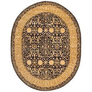 """Safavieh Handmade Silk Road Fransien Traditional Oriental Wool Rug (7'6"""" x 9'6"""" Oval - Black/Ivory)"""