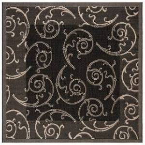 "Safavieh Courtyard Marlys Indoor/ Outdoor Rug (6'7"" x 6'7"" Square - Black/Sand)"