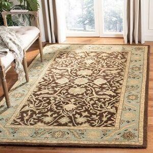 "Safavieh Handmade Antiquity Izora Traditional Oriental Wool Rug (Brown/Green - 9'6"" x 13'6"")"