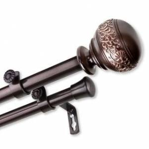Overstock InStyleDesign Nadine Adjustable Double Curtain Rod (48-84 inch - Cocoa)