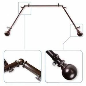 """InStyleDesign Tegan 13/16"""" Bay Window Curtain Rod - 20-36 inches, 38-72 inches (Brown Finish - Cocoa)"""