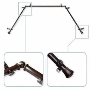 """InStyleDesign 13/16"""" Bay Window Curtain Rod - 20-36 inches, 38-72 inches (Brown Finish - Cocoa)"""