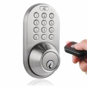 MiProducts Corp Digital Deadbolt Keyless Entry via Remote Control and Keypad (Silver - Nickel Finish - Metal)