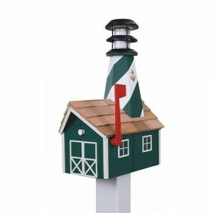 Kunkle Holdings Wooden Light House Mailbox w/ Solar Powered Light - Green and White