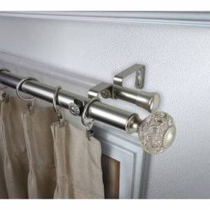 InStyleDesign Sadie 1 inch Diameter Adjustable Double Curtain Rod (28 to 48 inches - Satin Nickel)