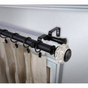 InStyleDesign Adeline 1 inch Diameter Adjustable Double Curtain Rod (160 to 240 inches - Black)