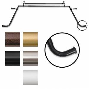 Pinnacle Bay Window 1-inch Diameter Double Curtain Rod Set - 1 (Black)