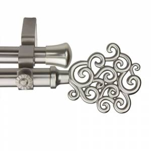 InStyleDesign Cloud Adjustable Satin Nickel Double Curtain Rod (48 to 84 inch)