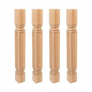 "Edge 35-1/4"" x 3-3/4"" x 3-3/4"" Unfinished Red Oak Kitchen Island Leg 4 Pack (Brown)"