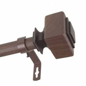 InStyleDesign Elena 1 inch Faux Wood Curtain Rod (28 to 48 inches - Dark Walnut)