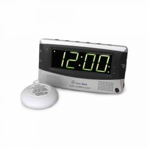 Sonic Alert Silver Dual Alarm Clock with Super Shaker (Silver)