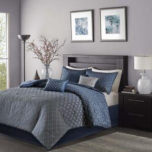 Madison Park Morris Navy 7 Piece Cal King Size Comforter Set (As Is Item) (Cal King-Navy)
