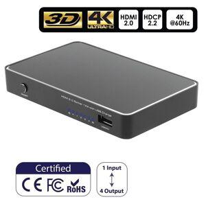 INSTEN 4K HDMI 2.0 Splitter 1x4 Adapter 4k@60HZ 18Gbps HDCP 2.2 3D for HDTV PS4 Blu-Ray