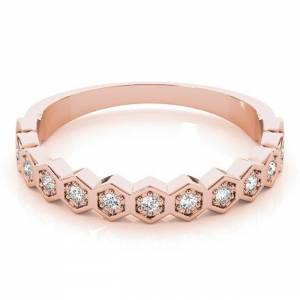 Lucid Styles 14K Gold 0.10 CT Round Cut Diamond Stackable Wedding Ring (Rose - 5.75)