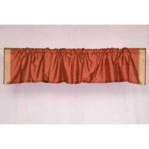 Indian Selections Handmade Rust Rod Pocket Sari Curtain Valance, Set of 2 (India) (80 X 20 Inches (203 X 51 cms))