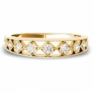 Lucid Styles Lucid  Styles 14K Gold 0.10 CT Square Shaped Round Cut Diamond Ring (Rose - 6)