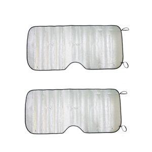 Unique 2Pcs Aluminium Foil Foldable Car Window Windshield Sun Shade Visor UV Block Cover 140cm x 70cm