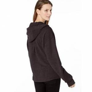 prAna Women's Cozy Up Zip Up Jacket, Charcoal, Charcoal Heather, Size X-Large