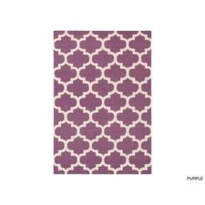 Overstock Hand-Tufted Intect Moroccan Trellis Wool Area Rug (4' x 6' - Purple/Ivory)