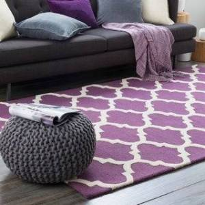Overstock Hand-Tufted Prance Moroccan Trellis Wool Rug (Purple/Ivory - 6' Round)