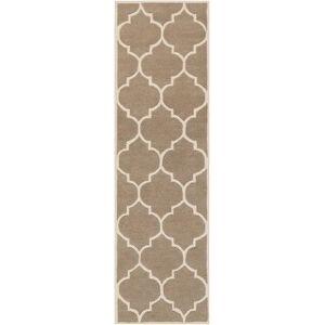 """Overstock Hand-Tufted Lizze Moroccan Cambridge Wool Rug (2'3"""" x 14' Runner - Beige)"""