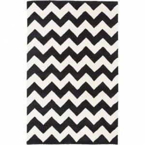 Overstock Hand-tufted Neil Chevron Wool Area Rug (9' x 13' - Black/Ivory)