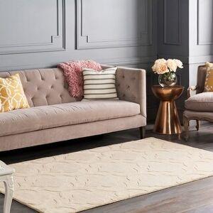 Surya Carpet Hand-Woven Ali Tone-on-Tone Moroccan Trellis Wool Rug (9' x 12') (9' x 12' - Beige)