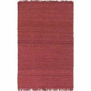 "Overstock Hand-Woven Kansas Solid Jute Rug (5' x 7'6"" - Burgundy)"