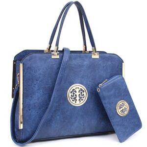 Dasein Vegan Leather Laptop Briefcase Handbag with Matching Wallet (Blue)