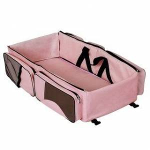 Dream On Me Allea 3 in 1 - Diaper bag, Portable Napper and changing Station In Pink And Brown