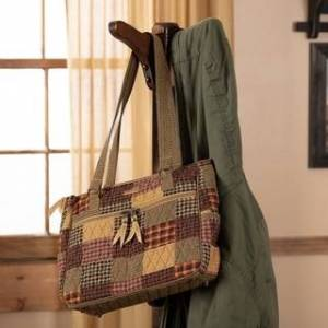 VHC Brands Red Primitive Handbags VHC Heritage Everyday Tote Cotton Patchwork Antique Brass Hardware