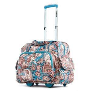 Olympia Blue Paisley Fashion Rolling Carry-On Tote Bag (Blue)