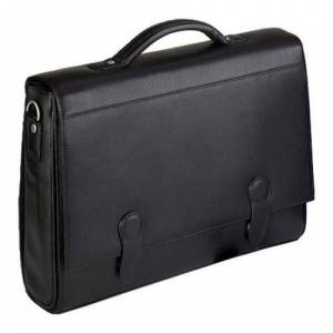 Bellino Executive CEO Leather Elegant High End Bellino 3716 Flap-over Brief Black (One Size)