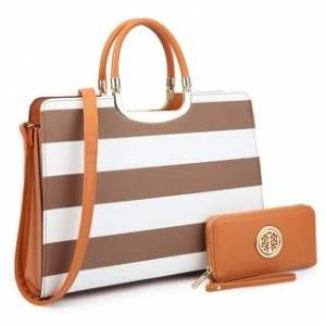 Dasein Women's PU leather Top Handle Briefcase with Matching Wallet (Coffee/White)