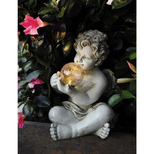 Jeco Boy Angel Off-white Polyresin/Fiberglass Solar Led Ball - Boy statue (Off-White - Resin)