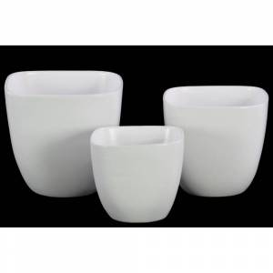 Urban Trends Collection Urban Trends Ceramic Square Pot with Broad Lips and Tapered Bottom in Coated Finish, Set of 3 - White