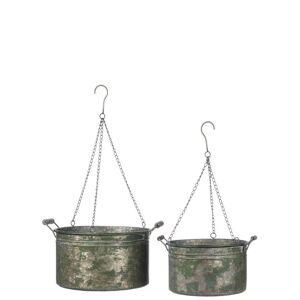 Sullivans Antique-style Galvenized Bucket Hanging Planter Decor (Silver - Planters - Metal - Assembled - Rustic)