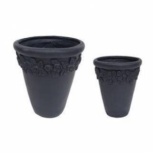 Christopher Knight Home Alba Tapered Lipped Edges Lightweight Concrete Garden Planter Pots (Set of 2) by Christopher Knight Home (Black)