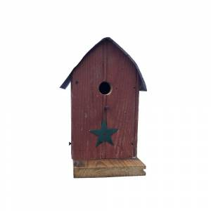 Kunkle Holdings, Barn Wood Round Roof Wren Red Bird House (Red)