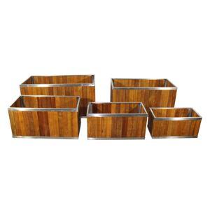 Overstock 12 x 24 Rectangular Wooden Planter with Stainless Steel Trim (Planter Box - Wood - Brown - Assembled - Modern & Contemporary - Rectangular)